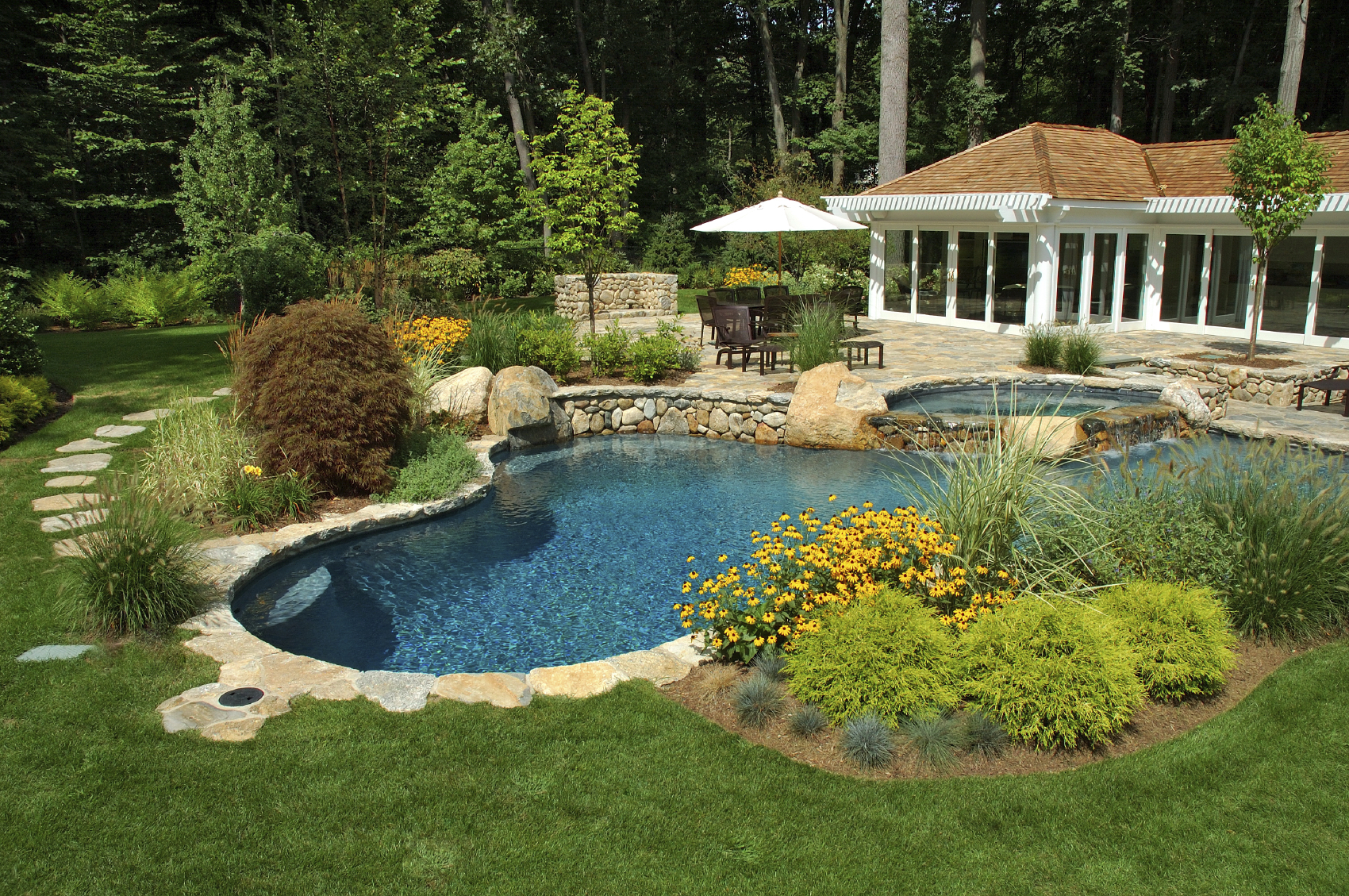 Landscaping Will Help Cape Cod Swimming Pools Blend More Naturally With  Your Yard, And Can Provide Coverage Of The Pool Equipment.